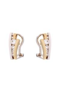 14 krt bi color gouden oorsieraden met daarin 0.40 crt diamant