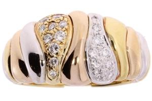14 krt. geel-witgouden damesring met 0.36crt diamant