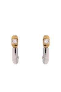 14 krt bicolor gouden oorsieraden met daarin 0.20 crt diamanr princess slijpsel