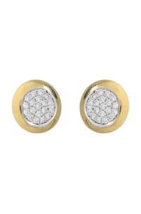 18 krt geelgouden oorknopjes met daarin 0.54 crt diamant