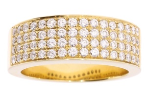 18 krt geelgouden damesring met 0.98 crt diamant