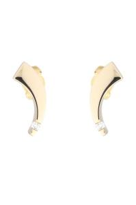 14 krt geelgouden oorsieraden met daarin 0.09 crt diamant