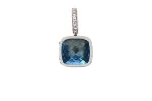 14 krt witgouden hanger met 0.06 crt diamant en Bleu Topaas