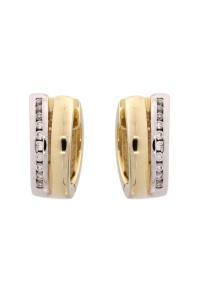 14 krt bicolor gouden creolen met daarin 0.360CRT diamant