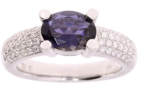Marbeau 14 krt. witgouden dames ring met diamant en ioliet