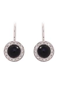 14 krt witgouden oorhangers met diamant 0.30 crt en ioliet