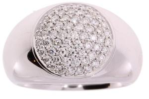 14 krt. witgouden dames ring met 0.73 crt diamant