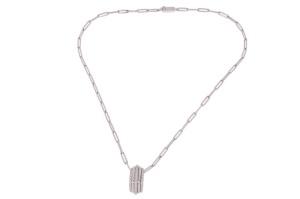 14 krt witgouden collier met hanger met daarin 0.28 crt diamant