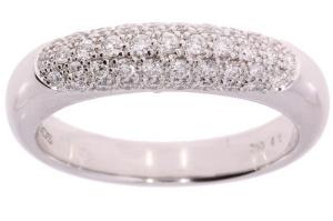 18 krt witgouden damesring met totaal 0.45 crt diamant