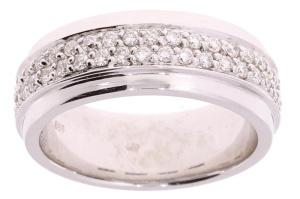 Witgouden damesring met 0.69crt diamant