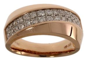 14 krt geelgouden dames ring met daarin 0.59 crt diamant