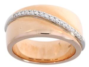Roségouden damesring met 0.17crt diamant