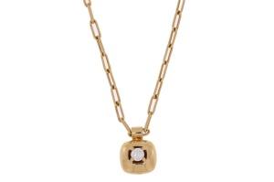 18 krt geelgouden collier en hanger met daarin 0.12 crt diamant