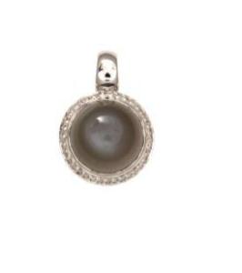 14 krt witgouden hanger met maansteen en 0.14 crt diamant