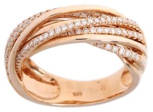 Roségouden damesring met 0.59crt diamant