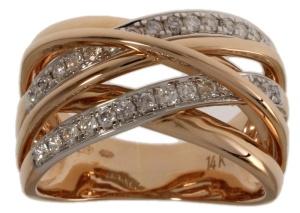 Roségouden damesring met 0.48crt diamant