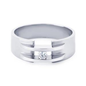 R&C witgouden damesring met 0.03 crt diamant