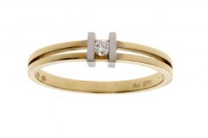 R&C 14 karaat geelgouden Julie damesring met 0.05 crt diamant