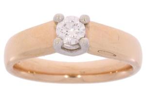 R&C roségouden damesring met 0.30 crt diamant