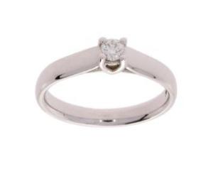 R&C witgouden damesring met 0.15 crt diamant