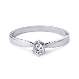Witgouden R&C damesring met 0.51 crt diamant