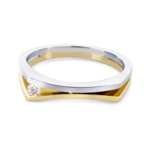 R&C 14 karaat bicolor Solell damesring met 0.02 crt diamant