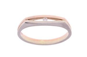 R&C 14 karaat rosé/witgouden damesring met 0.02 crt diamant