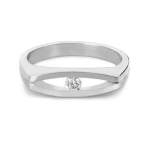 R&C 14 karaat witgouden Jullette damesring met 0.02 crt diamant