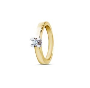 Bicolor gouden R&C damesring met 0.24 crt diamant