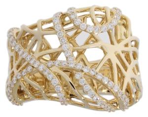 Bicolor gouden damesring met 0.70 crt diamant