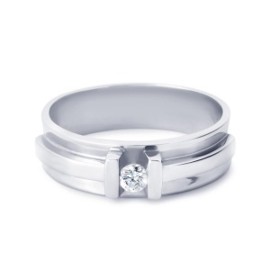 R&C witgouden damesring met 0.32 crt diamant