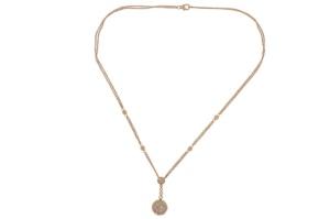 18 krt rosé gouden collier met hanger met daarin 1.32 crt diamant