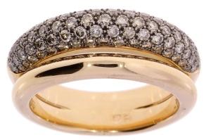 18 krt geelgouden damesring met daarin 1.25 CRT diamant