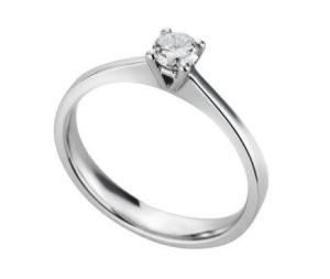 18 karaat witgouden solitiar met 0.15 crt diamant
