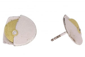 Zilveren met gouden oorknoppen 0.06crt diamant