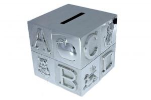 Verzilverde spaarpot letter kubus