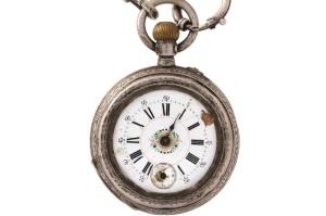 Merkloos zilveren zakhorloge met echte zilveren horloge ketting