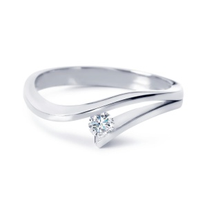R&C 14 karaat witgouden damesring met 0.08 crt diamant