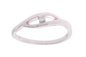 Witgouden damesring met 0.03 crt diamant