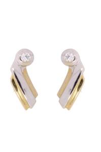 Bicolor gouden oorknoppen met zirconia