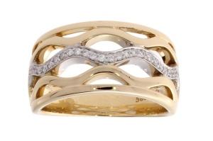 Bicolor gouden damesring met 0.168 crt diamant