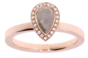 Roségouden  R&C ring met 1.04crt diamant