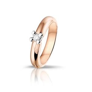 14 krt rosé gouden damesring met 0.19crt diamant