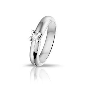 Witgouden damesring met 0.09 crt diamant