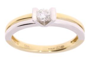 Bicolor gouden ring met 0.18 crt diamant