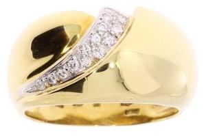 Bicolor gouden damesring met 0.15 crt diamant