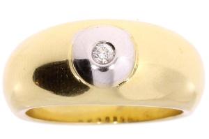 geelgouden damesring met 0.05 crt diamant