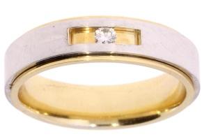 Bicolor gouden ring met 0.05 crt diamant