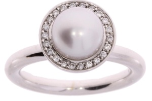 Bron 14 karaat witgouden damesring met zuidzee parel en 0.14 crt diamant