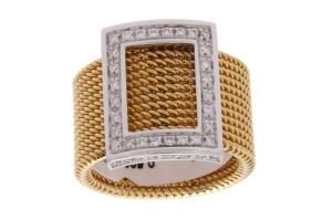 18 krt geelgouden damesring met 0.50 crt diamant